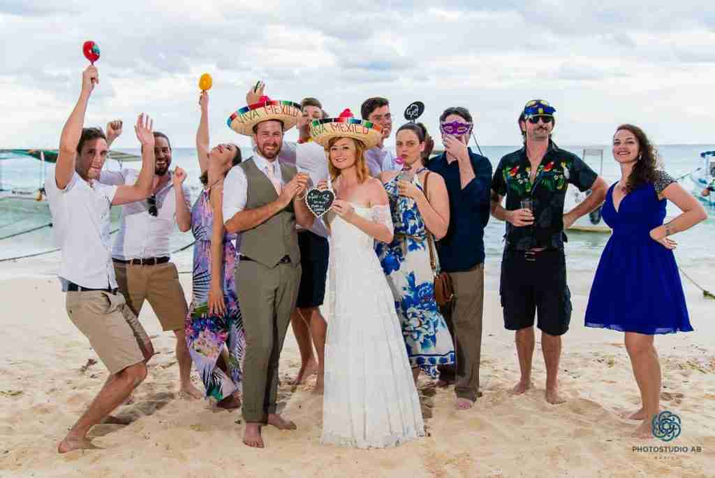 Kristal Toni wedding Playa del Carmen beach club Indigo Beach